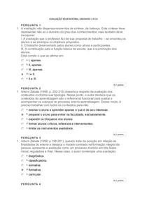 AVALIAÇÃO EDUCACIONAL UNIDADE I,II e III