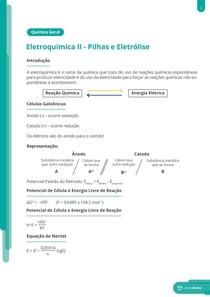 Eletroquímica: pilhas e eletrólise - Resumo