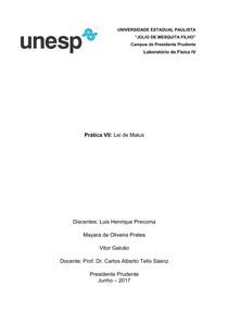 Relatório lab IV - Lei de Malus - Laboratorio de Fisica IV 44ce0e4472