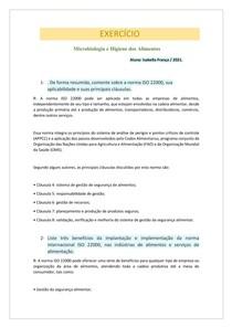 EXERCICÍO - Microbiologia e Higiene dos Alimentos