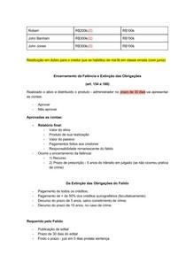 DIREITO FALIMENTAR - ENCERRAMENTO DA FALENCIA E EXTINCAO DAS OBRIGACOES