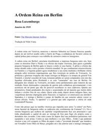A Ordem Reina em Berlim  - Rosa Luxemburgo