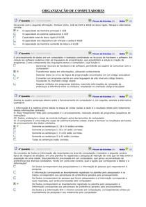 ORGANIZAÇÃO DE COMPUTADORES EXERCICIOS