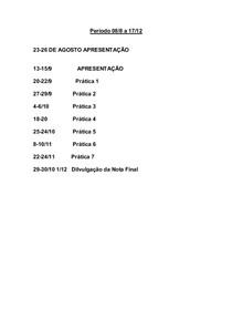 Calendario Práticas Química Experimental 2o Sem 2011