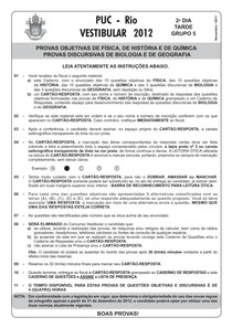 PUC RJ 2012 - prova Ciências da Natureza (questões objetivas)