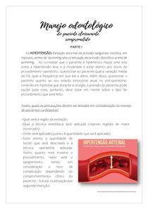 MENEJO ODONTOLÓGICO DO PACIENTE CLINICAMENTE COMPROMETIDO PARTE I