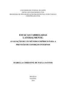 ESTACAS CARREGADAS LATERALMENTE AVALIACAO DE UM METODO EMPIRICO PARA A PREVISAO DE ESFORCOS INTERNOS