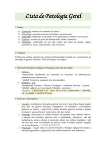 Lista - Patologia Geral
