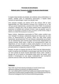 Reflexão sobre - Transtorno do déficit de atenção e hiperatividade (TDAH)