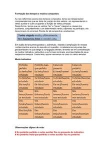 Morfologia - Formação dos tempos e modos compostos