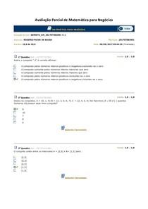 Avaliação Parcial de Matemática para Negócios