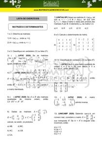Exercícios - Matrizes e determinantes