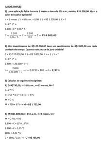 MATEMÁTICA FINANCEIRA - AULA 03 - EXERCÍCIOS