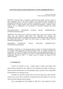 Função social do contrato na Nova Hermenêutica Contratual