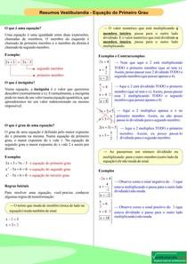 Equação do Primeiro Grau - Resumo