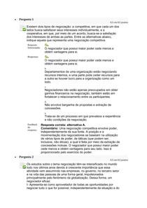 Questionario 1 - estudos disciplinares VIII - Técnicas de Negociação