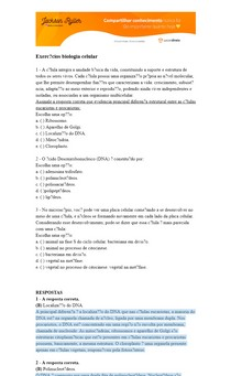 Exercícios de biologia celular