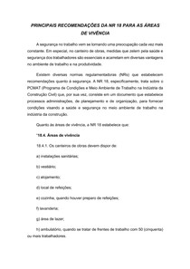 Principais recomendações da NR 18 para as áreas de vivência