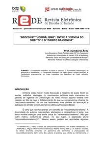 Neoconstitucionalismo. entre a Ciência do Direito e o Direito da Ciência.2009. Humberto Avila