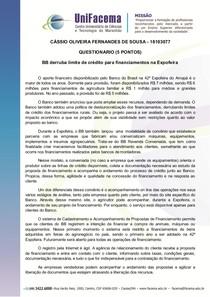 POLÍTICAS ECONÔMICAS - EXERCÍCIOS CASSIO OLIVEIRA FALTA 1 A 4