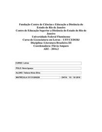 AD2  de Literatura Brasileira III