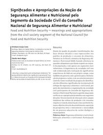 Significados e apropriações da noção de segurança alimentar e nutricional pelo segmento da sociedade civil do Conselho Nacional de Segurança Alimentar e Nutricional