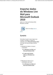 importar dados do windows live mail para microsoft outlook 2010