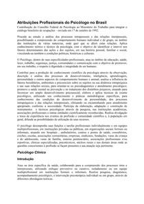 ATRIBUIÇÕES PROFISSIONAIS DO PSICOLOGO NO BRASIL