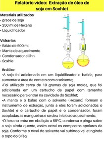 Relatório vídeo Extração de óleo de soja em Soxhlet