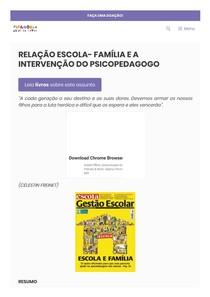 RELAÇÃO ESCOLA- FAMÍLIA E A INTERVENÇÃO DO PSICOPEDAGOGO