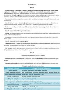 Análise Textual - Resumo com exercícios aulas 01 a 10