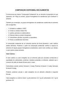 COMPOSIÇÃO CENTESIMAL DOS ALIMENTOS