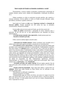 Direito Administrativo - Intervenção do Estado no Domínio Econômico e Social - Resumo