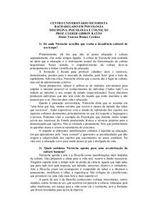 Questionário sobre Nietszche