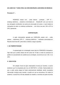 CONTESTAÇÃO CIVIL - PRELIMINAR - PRESCRIÇÃO E RESPONSABILIDADE CIVIL