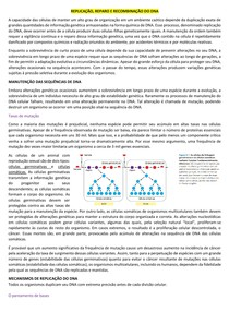 Replicação, reparo e recombinação do DNA