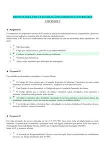 DEONTOLOGIA, ÉTICA E LEGISLAÇÃO DA MEDICINA VETERINÁRIA (UNIDADE 1 - ATIVIDADE 2)