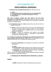 Resumão de Direito Empresarial e Comercial