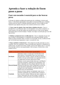 Aprenda A Fazer A Redação Do Enem Passo A Passo Português