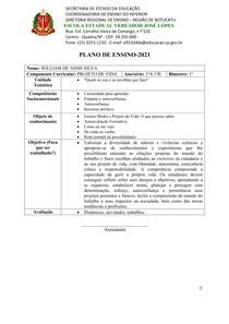 Plano de ensino 2021 - PROJETO DE VIDA - 1°A - 1°B