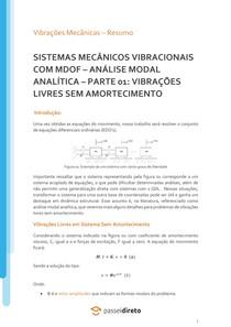 Solução modal analítica: vibrações livres sem amortecimento - Apostila