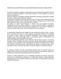 TRABALHO SOBRE O PADRÃO RACIAL FENOTÍPICO DE GALINHAS BRASILEIRAS DA RAÇA CANELA-PRETA