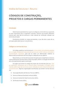 Códigos de construção, projetos e cargas permanentes - Resumo