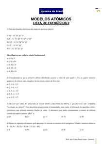 Modelos Atômicos - lista de exercícios 2 (Prof Brasil)
