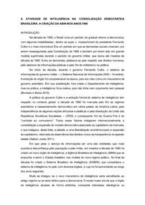 A atividade de inteligência na consolidação democrática brasileira