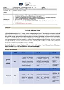 Atividade Avaliativa A1 N1 - Estudo de Caso - Hospital Memorial