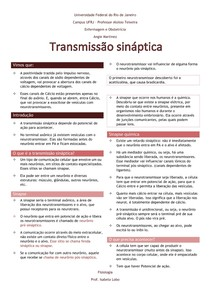 Transmissão sináptica - Fisiologia do sistema nervoso
