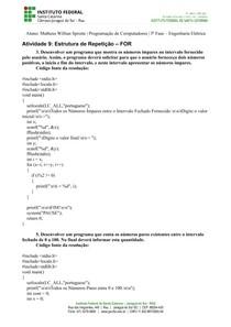 [RESOLUÇÃO] Exercícios de Estrutura de Repetição FOR (Programação de Computadores/C)