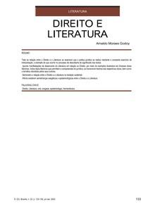 Nota de Aula -  Direito e Literatura