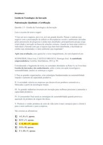 APOL 3   NOTA 100   Gestão da Tecnologia e da Inovação      Padronização Qualidade e Certificação   UNINTER   ADMINISTRACAO